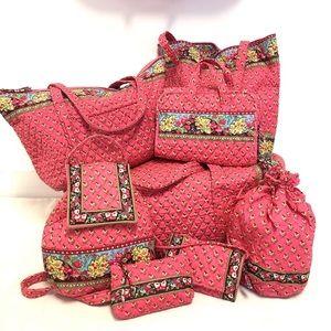 Excellent 8 PIECES Vera Bradley Pink Pansy Set